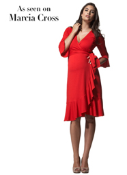 Maternity ruffle wrap dress